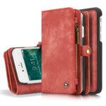 CaseMe Vintage Portemonnee Hoesje iPhone 8 7 - Rood (15)