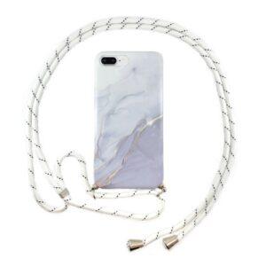FONU Marmer Backcover Hoesje Met Koord iPhone 8 Plus - Wit