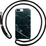 FONU Back Case Met Touw iPhone 8 Plus / 7 Plus - Black Marble