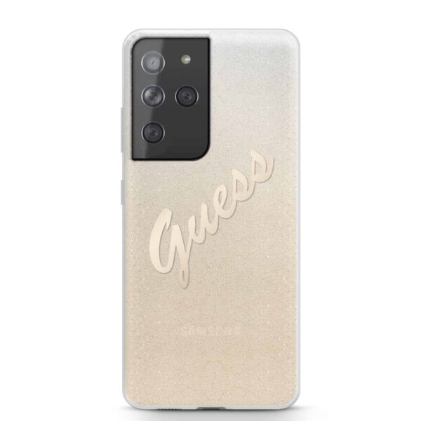 GUESS Glitter Vintage Backcover Hoesje Samsung Galaxy S21 Ultra - Goud